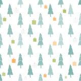 Cartão bonito do Feliz Natal com floresta e presentes Fotografia de Stock Royalty Free