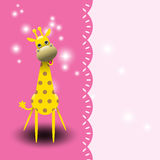 Cartão bonito do girafa. Imagens de Stock