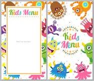 Cartão bonito do menu do monstro ilustração stock