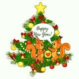 Cartão bonito do Natal com a árvore do esquilo e de Natal Texto do ano novo feliz Ilustração do vetor Foto de Stock Royalty Free