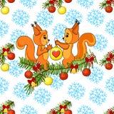 Cartão bonito do Natal com a árvore do esquilo e de Natal Texto do ano novo feliz Ilustração do vetor Imagem de Stock Royalty Free