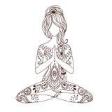 Cartão bonito do ornamento com ioga do vetor fotografia de stock royalty free