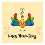 Cartão bonito do peru da ação de graças feliz Fotos de Stock