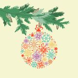 Cartão bonito do ramo de árvore do Natal ilustração royalty free