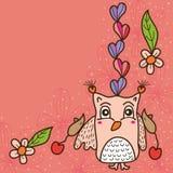 Cartão bonito do rato do amor da coruja Imagem de Stock Royalty Free