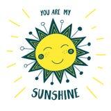 Cartão bonito do sol você é minha luz do sol Imagem de Stock