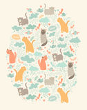 Cartão bonito do vetor dos gatos Foto de Stock Royalty Free