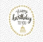 Cartão bonito do vetor feliz aniversário com bolo e grinalda Ilustração do vetor ilustração stock