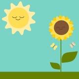 Cartão bonito dos desenhos animados com ilustração do girassol e do sol Imagem de Stock Royalty Free