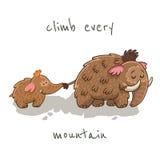 Cartão bonito dos desenhos animados com mammoth Vetor ilustração stock