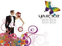 Cartão bonito dos pares do casamento Foto de Stock