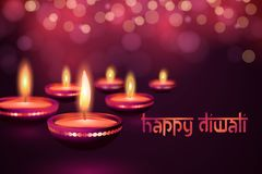 Cartão bonito para a ilustração feliz hindu do fundo do festival do diwali de Diwali do festival de comunidade Imagem de Stock
