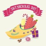 Cartão bonito para o dia de Nicholas Sinterklaas de Saint com sho ilustração stock