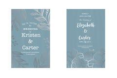 Cartão bonito Projeto do casamento do vintage com elementos florais de prata Fotos de Stock Royalty Free