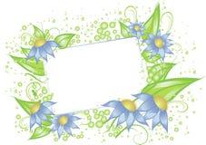Cartão branco com flores azuis ilustração do vetor