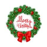 Cartão branco com grinalda e curva do Natal Ilustração Rotulação do Feliz Natal fotos de stock royalty free