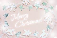 cartão Branco-cor-de-rosa do Natal Imagens de Stock