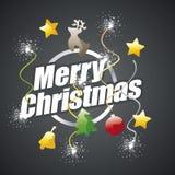 Cartão branco do preto do logotipo do Feliz Natal ilustração stock