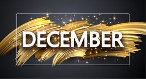 Cartão brilhante de dezembro com projeto do curso da escova do ouro ilustração stock