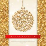 Cartão brilhante do ouro com quinquilharia do Natal ilustração royalty free