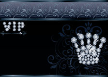 Cartão brilhante do VIP da coroa da rainha, Foto de Stock Royalty Free