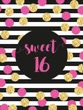 Cartão brilhante festivo bonito do doce dezesseis com confetes dourados do brilho ilustração do vetor