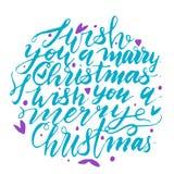 Cartão caligráfico do projeto de rotulação do texto do vetor do Feliz Natal Imagem de Stock Royalty Free