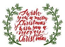 Cartão caligráfico do projeto de rotulação do texto do vetor do Feliz Natal Imagens de Stock