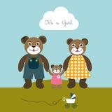 Cartão carregado Babygirl Conceito bem-vindo recém-nascido Fundo das crianças Foto de Stock