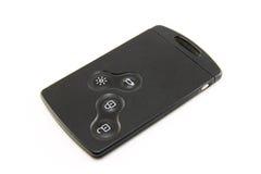 Cartão chave do carro preto moderno isolado no fundo branco Imagens de Stock