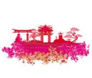 Cartão chinês decorativo da paisagem Imagens de Stock