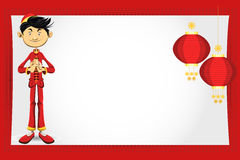 Cartão chinês do ano novo do menino Imagens de Stock Royalty Free
