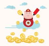 Cartão chinês feliz da ilustração do vetor do ano novo ilustração stock