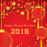 Cartão chinês feliz do ano novo 2016 no fundo vermelho Fotos de Stock