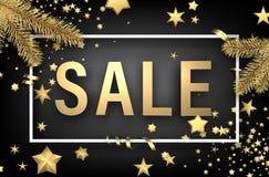 Cartão cinzento da venda com estrelas do ouro Fotografia de Stock