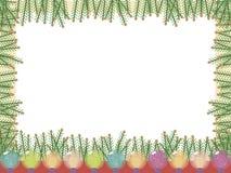 Cartão claro do vetor com um quadro de ramos de árvore verdes do Natal e de luzes luminosas festivas coloridas vítreos em um bran ilustração do vetor