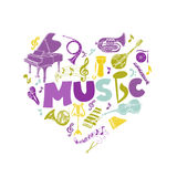 Cartão colorido com instrumentos de música Fotos de Stock Royalty Free