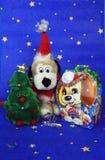 Cartão colorido do ano novo com cães Imagem de Stock Royalty Free