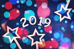 Cartão colorido do ano 2019 novo feliz fotografia de stock
