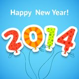 Cartão colorido do ano novo feliz com Fotos de Stock Royalty Free