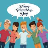 Cartão colorido do dia feliz da amizade com grupo de homens e de mulheres ilustração royalty free