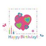 Cartão colorido do feliz aniversario dos corações ilustração royalty free