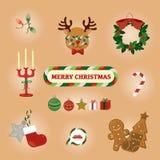 Cartão colorido do Natal com rena e materiais bonitos Ilustração do vetor Foto de Stock Royalty Free