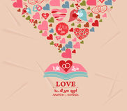 Cartão colorido dos elementos do dia de Valentim Imagens de Stock Royalty Free