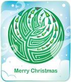 Cartão com a árvore de Natal redonda ilustração stock