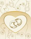 Cartão com anéis de casamento Foto de Stock