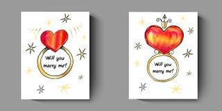 Cartão com anéis, com uma pergunta - você casar-me-á ilustração stock