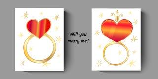 Cartão com anéis, com uma pergunta - você casar-me-á ilustração do vetor