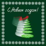 Cartão com ano novo Árvore de Natal dos flocos de neve em um fundo verde Vetor Fotografia de Stock Royalty Free