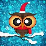 Cartão com as corujas bonitos em chapéus de Santa Imagens de Stock Royalty Free